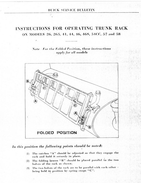 Trunk Rack Service Bulletin (No. 4 - Sept. 1//28) - Pg. 1