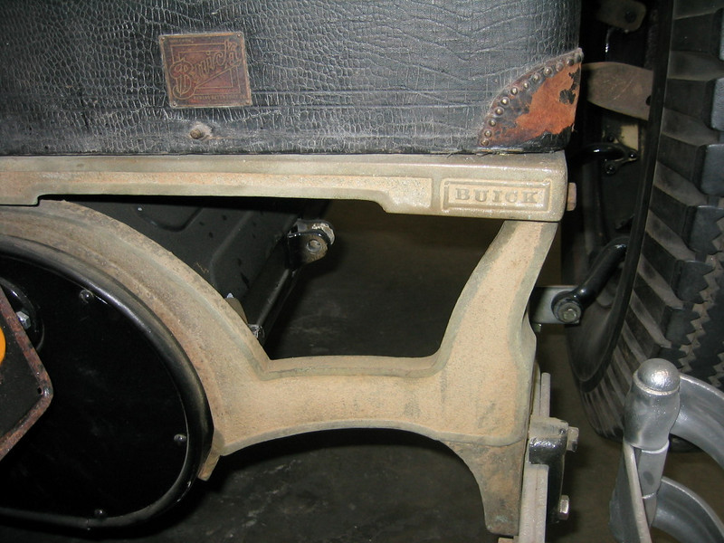 "Trunk rack with rear mounted spare extender  (Note ""Buick"" logo)"