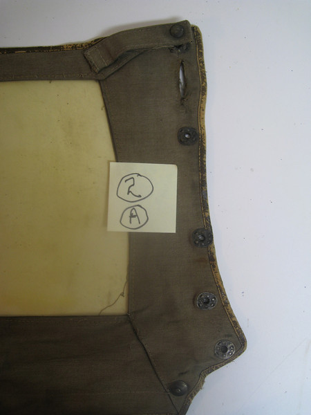 29-44 - Side Curtains:  right side, front from inside (right 1/2).  Note:  slit for top W/S knob and small flap w/snap.