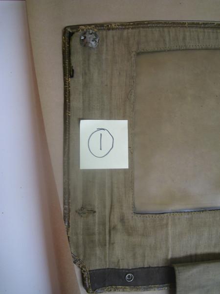 29-44 - Side Curtains:  left side, front from inside (left 1/2).  Note: slit near bottom for support rod