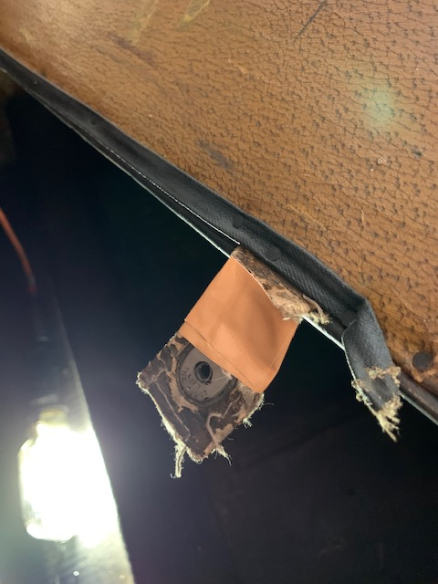29-44 Rumble Seat Cushion Strap with 'Lift-the-Dot'  fastener (1 on each side of the lower front of cushion). Strap has tape holding it together.