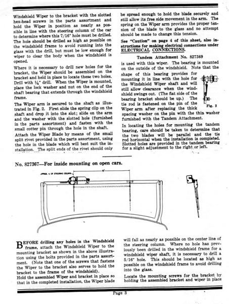 Electric Windshield Installations Instructions - pg. #3 (of 4)