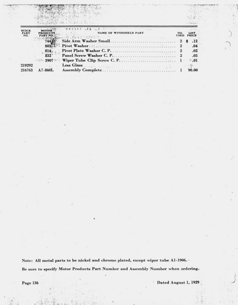 Open Car Windsheild Information - Pg. 3 (Note:  RHD & LHD W/S's are different)