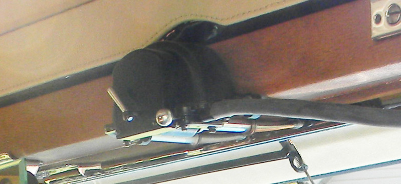 29-54CC Windshield Wiper Motor (close-up).  Trico - mounts in the notch in the metal cover.