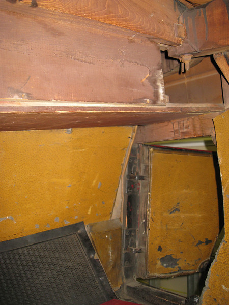 29-44 - Side Curtain Box behind seat from inside rumble seat.  Note:  Original rumble seat floor mat and kick pads