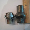 Left:  wire / disc wheel nut<br /> Right:  artillery wood wheel nut