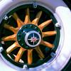 Basic wood spoke wheel (demountable at rim).  Came with 29 Buick.  Note pinstriping.