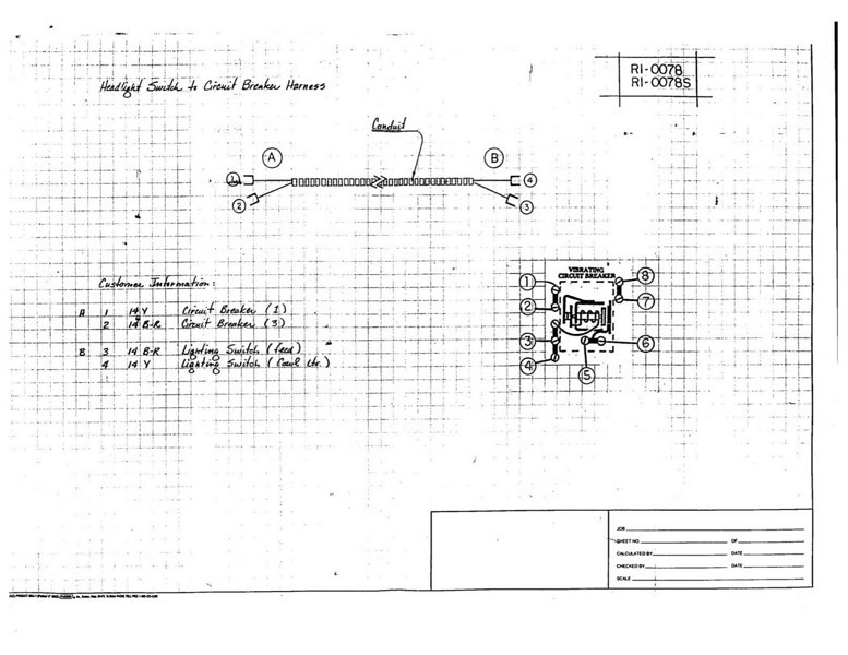 Head light switch to circuit breaker wiring harness - Early diagram