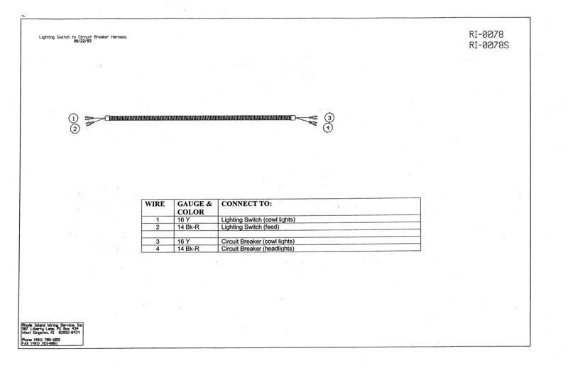 Lighting Switch to Circuit Breaker Wiring harness Diagram