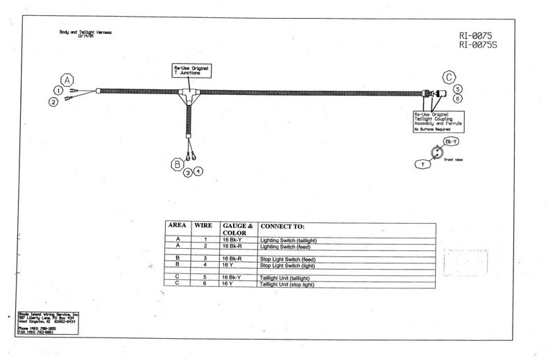 Body and tail light wiring harness diagram