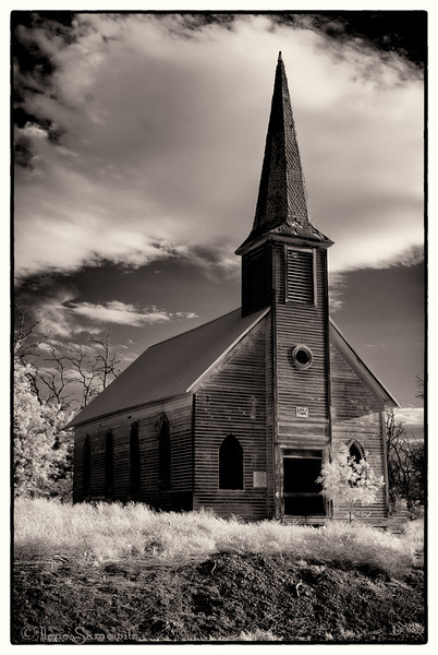 6-28-12 Infrared of abandoned church near Wasco, Oregon<br /> <br /> This is a vertical image of the abandoned church.  This infrared was then converted to black and white using Silver Effex Pro 2.