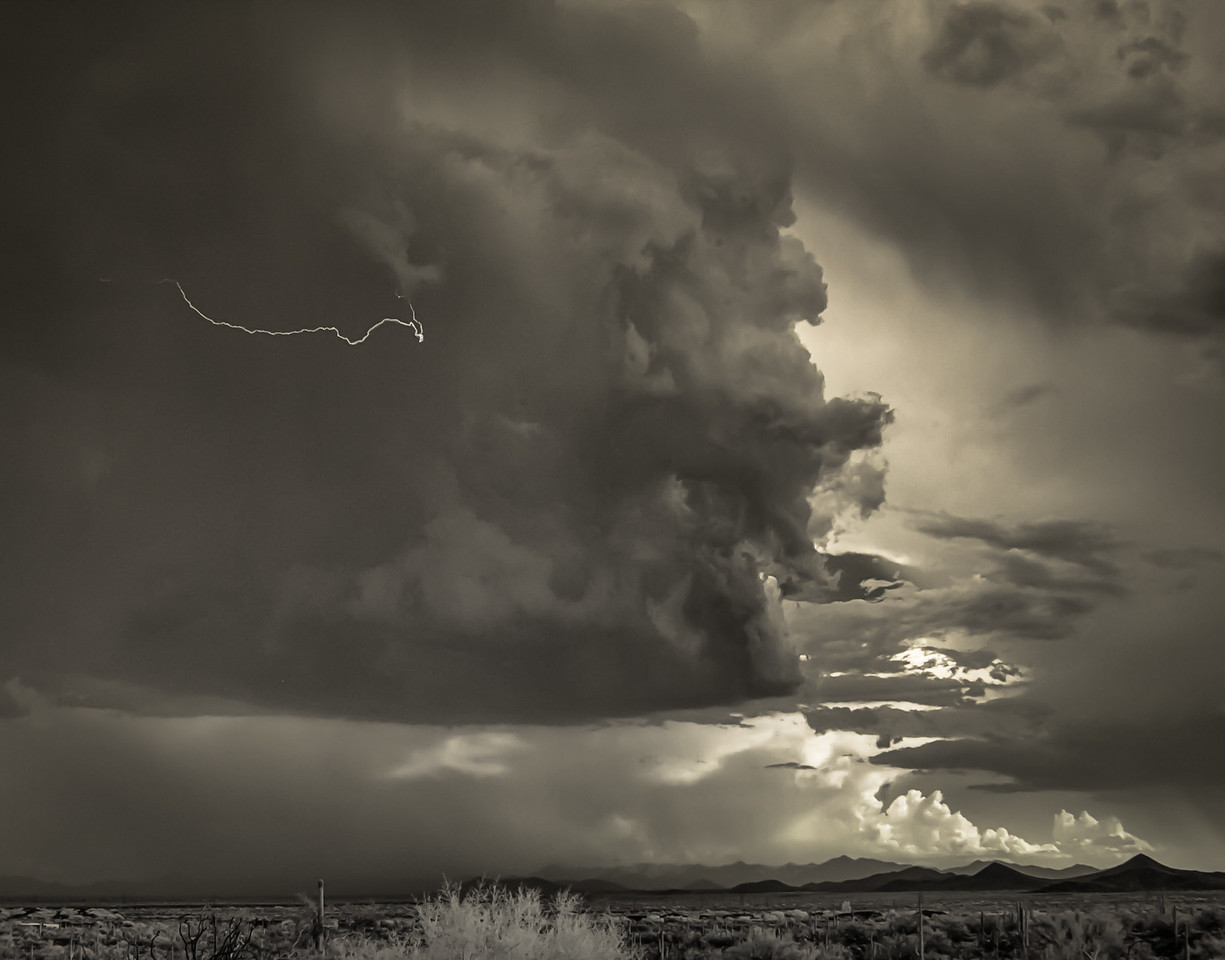 Clouds With Bolt Over North Phoenix