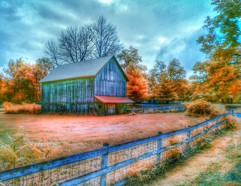 Colored Infrared on Historic Family Barn - North East Indiana