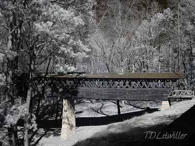 Infrared image of Clarkson Covered Bridge, Cullman Alabama   taken with an R72 filter