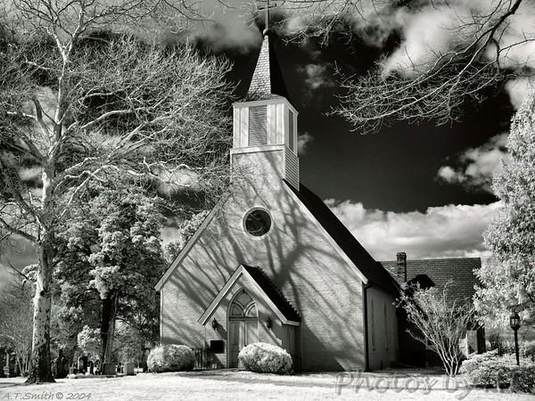 Trinity Church  - Built 1642 on Smith's Creek, Saint Mary's County.  Moved to lot near present rectory, St. Mary's Parish, St. Mary's City, Maryland - Infrared Photo -