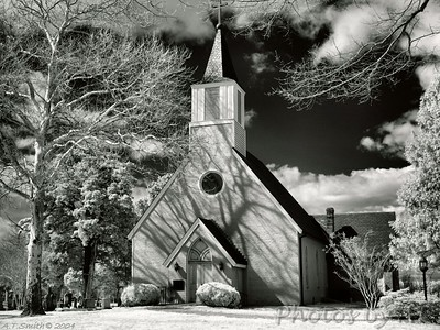 Trinity Church  - Built 1642 on Smith's Creek, Saint Mary's County.  Moved to lot near present rectory, St. Mary's Parish, St. Mary's City, Maryland - Infrared Photo -