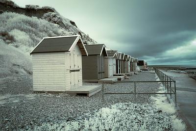 Beach huts Overstrand (IR false colour)