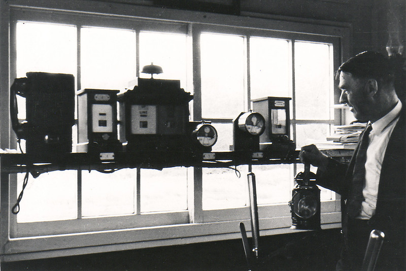 Jan 67:  The bobby Arthur Scribbence proudly displays both of his signal levers and his hand lamp.