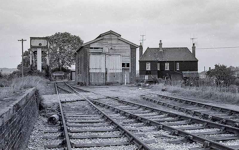 May 1964.:  The end of the GWR branch line from Savernake to Marlborough that closed to Passengers in 1933. It remained open for goods traffic until the 1950s