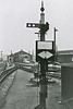 1962:  Four route option backing signal at the london end of the Down Main platform at Chippenham