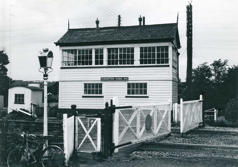 Hungerford Signal Box in 1967.  The left hand end was added in 1939 when Hungerford East Signal Box was closed.  It was demolished in November 1978  after a derailment caused it severe damage