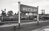 May 1964: Westbury Station Running in Board on Platform 1/2. I put my small suit case there so I could later calculate the hight of the post !