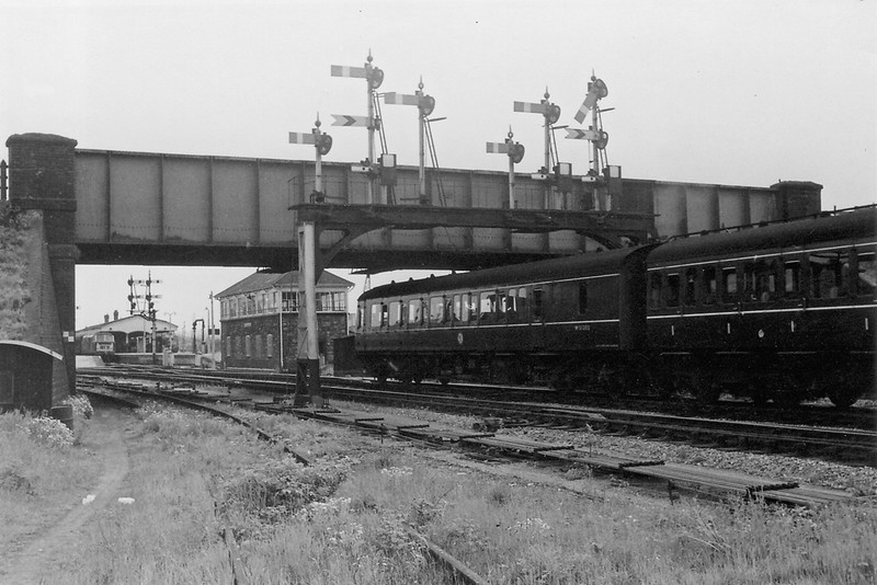 9th May 65:  The Gantry at Westbury North. Note the Route Indicators on the Calling On arms