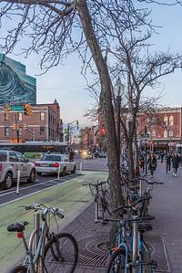 Parked Evening Bikes