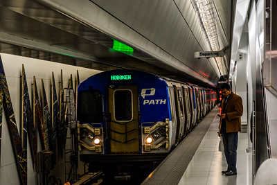 PATH Hoboken train arriving at World Trade Center