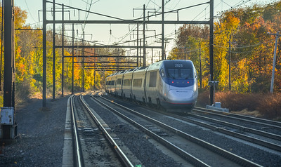 Westbound Acela Express Roars down the Northeast Corridor
