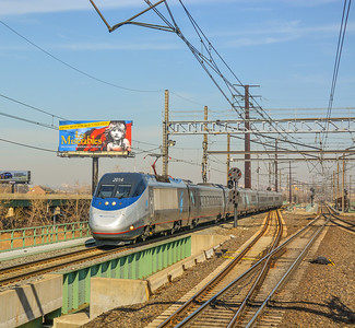 Westbound Acela Express rocketing through Secaucus JCT