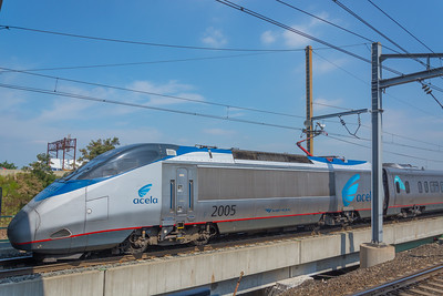 Westbound Acela Express crawling through Secaucus JCT