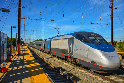 Eastbound Acela Express at Edison Station