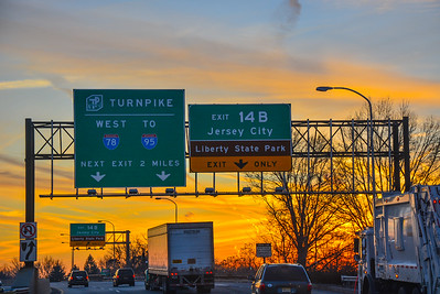 Westbound Jersey City Turnpike Exit at Sunset