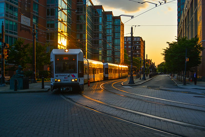 A Sunset basked Light Rail Train