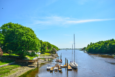 Yatch docked on the Saugatuck River in Westport