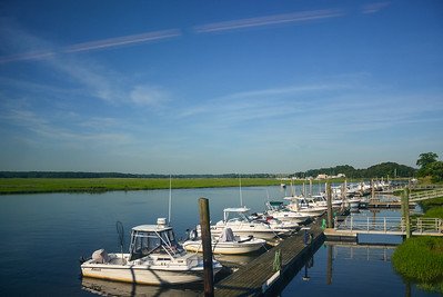 Boats docked on Crossway Creek