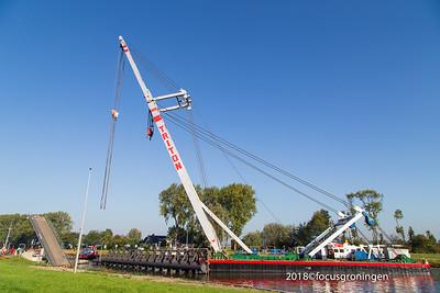 nederland 2018, groningen, paddepoelsterweg, paddepoelsterbrug, aanvaring