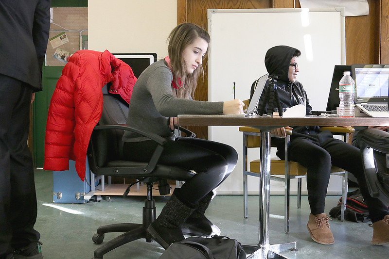 The Ingenuity Hub, an alternative after school program, has been up and running in Leominster for a about a year. Working hard on Thursday afternoon at the hub is Veronica Gazzano, 16. At the table with her is student Jordan Tejeda, 15. SENTINEL & ENTERPRISE/JOHN LOVE