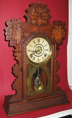 Ingraham Oak Kitchen Clock with Steel Plate Movement