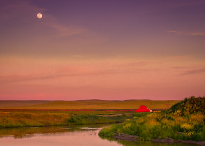 Moonrise Over Red Barn