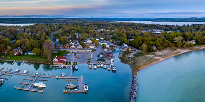 Leland Harbor Evening Aerial