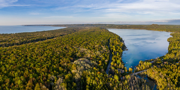 Litte Traverse Lake and Lake Michigan Aerial