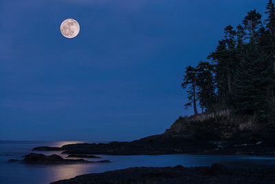 Moonrise over Tongue Point, Salt Creek Park near Joyce, WA