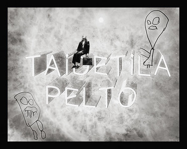 """Sitting on Letters """"Artspace pelto"""" While Two Fellows are Watching BW"""