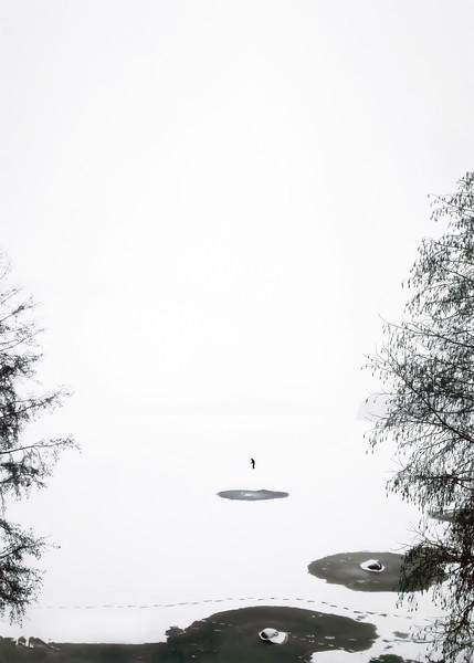 "A skier in the lake Pyhäjärvi (""Holy Lake""), at Pispala, Tampere Finland"