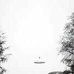 "Skier in the lake Pyhäjärvi (""Holy Lake""), at Pispala, Tampere Finland"
