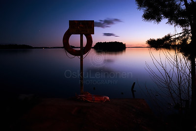 Life Buoy At Night