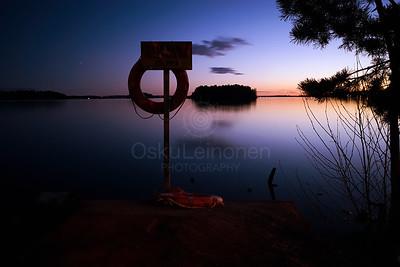 Life Buoy At Night