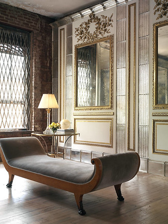 """mirrored pilasters on either side of the new bar to reflect the flight from the window as the room's end. Mirrors cut every 40cm +/- to be """"antiqued"""" and framed"""